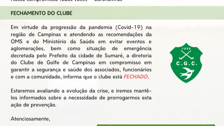 Coronavírus (Covid-19) – CLUBE FECHADO 20/03/2020